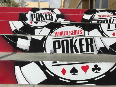 HBMO poker chip on steps of World Series of Poker